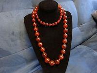 "Vtg Art Deco Cherry Amber Bakelite Round 61 Beads 41.6"" 104cm Necklace 169 grams"
