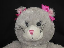 BUILD A BEAR GRAY KITTY CATS PINK FUCHSIA BOWS SOFT LOVEY PLUSH STUFFED ANIMAL