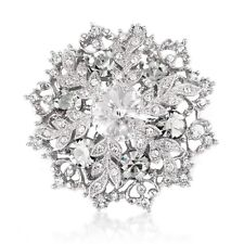 Beautiful White Xmas Brooch Pendant Swarovski Element Crystals Gift Boxed