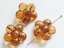 10 Acrylic Flower Beads - Transparent Dark Amber - 25mm