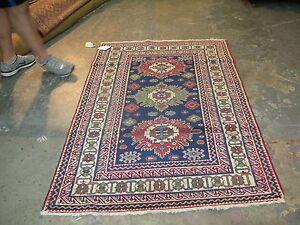 Antique Russian Caucasian Kazak 3'-8 x 5'-8  Hand Knotted Wool Area Oriental Rug