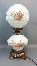 Vintage GONE WITH THE WIND Embossed Rose FLORAL Flower Milk Glass HURRICANE LAMP
