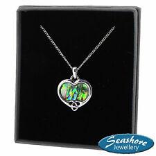 "Celtic Heart Necklace Paua Abalone Shell Pendant Silver Fashion Jewellery 18"""