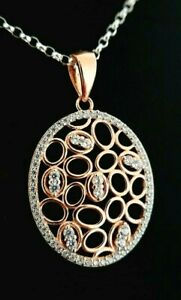 Ladies 925 Sterling Silver Rose Gold Simulated Diamond Oval Necklace Pendant.