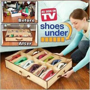 Shoe Storage Organiser Rack Under bed Closet Bag Travel 12 Pairs Box Space Save