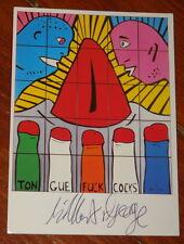 Gilbert & y George ~ lengua F * ck C * Cks ~ firmada a mano exposición Arte Postal