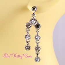 Deco Chic Silver Classic Drop Regency Chandelier Earrings w/ Swarovski Crystals