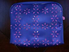Clinique Make Up Bag Cosmetic Case Zipper Blue Pink Die Cut Out Flower Floral