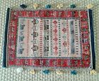 """Antique Hand Woven Wool Pile Turkish Wall Hanging Tapestry Geometric Rug 32x22"""""""