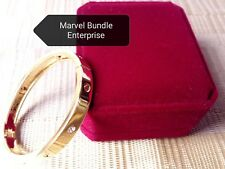 Gold Tone Stainless Steel Bangle Bracelet with Red Velvet Jewelry Box
