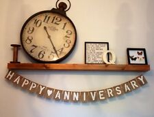 HAPPY ANNIVERSARY Hessian Rustic Vintage Banner Bunting Party Decoration