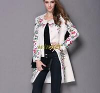 Uk Sz Ladies Wool blend Floral Embroidered Trench Coat Outwear Long Jackets