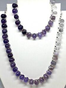 Genuine Amethyst & Quartz silver plated necklace & bracelet -February Birthstone