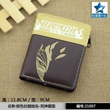 Japanese Anime Bleach Kurosaki Ichigo Pu Short Wallet Purse w-Zipper