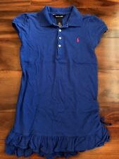 girls RALPH LAUREN BLUE DRESS collared SCHOOL polo LOGO s/s SOLID size 6X clean