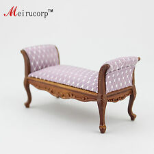 Dollhouse 1/12 scale miniature furniture well handmade carving Bed stool 10360