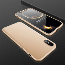 For iPhone X 360° Full Body Shockproof Hybrid Hard PC Case Cover +Tempered Glass