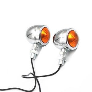 Motorcycle 12v Bullet Turn Signal Indicator Light Amber Lamp Universal Scooter