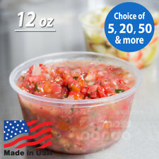 12 oz Round Deli Food/Soup Storage Containers w/ Lids Microwavable Clear Plastic