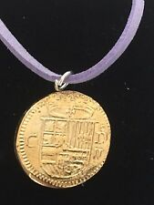 "Gold Doubloon Coin WC36 Gold Fine English Pewter On a 18"" Purple Cord Necklace"