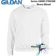 Gildan White Heavy Blend Basic Sweat Sweater Jumper Sweatshirt Mens S -XXL