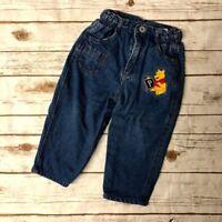 Vtg Disney Winnie the Pooh Bear Denim Jeans 90s Embroidered Girls Kids 24 Months