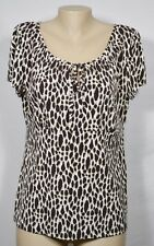 EAST 5TH White/Brown/Black Animal Print Top Large Cap Sleeves Smocked Neckline