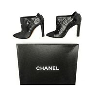 Chanel Black Quilted Leather Pointed Toe Ankle Boots 39.5
