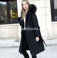 Women's Loose Parka Trench Real Fur hooded Coat Long Jacket Cashmere Wool Winter