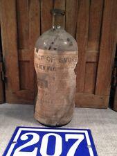 1800 1900s Vtg KRAUSER LIQUID EXTRACT OF SMOKE Hand Blown Glass Bottle Advert PA