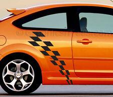 Focus coche etiqueta engomada, Racing Checker Bandera Raya lateral gráfico personalizado calcomanía