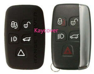 BLACK SILICONE CAR SMART KEY COVER SUITS RANGE ROVER LAND EVOQUE SPORT