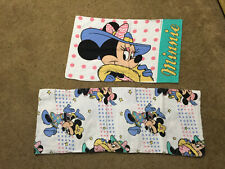 Vintage Minnie Mouse Cotton Flannel Twin Flat Sheet and Flannel Pillow Case