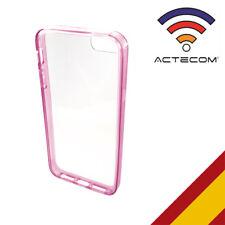 FUNDA CARCASA BUMPER PARA IPHONE 5-5S ROSA TRASERA TRANSPARENTE + PROTECTOR