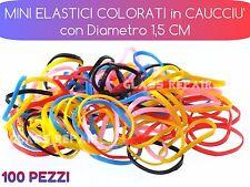 100 Pezzi MINI ELASTICI Capelli Fermacoda Treccine Caucciù MULTI COLORE D. 1,5cm