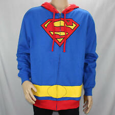 Superman Zip Up Hoodie DC Comics Mens XL Halloween Costume Cosplay Long Sleeve