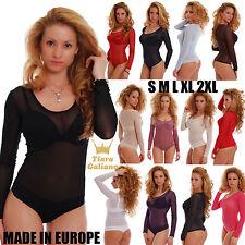 859f872c00 Women Mesh Tulle Bodysuit long sleeves Scoop neck thong S-3XL 370 Sheer  Leotard