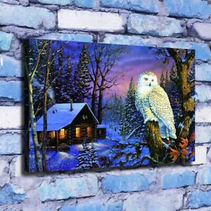Forest hut and owl snow scene HD Canvas printed Home decor painting Wall art