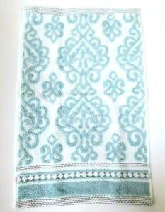 NICOLE MILLER BLUE,GRAY DAMASK PATTERN COTTON BATH,2 HAND TOWEL,OR 2 FINGERTIP
