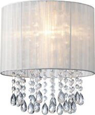 White Organza & Hanging Beaded Ceiling Lampshade