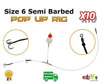 10 X Size 6 Semi-barbed Pop Up wire Trace Pike & Predator Dead Bait Fishing Rig