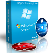 Asus Windows 7 Starter Fix Reinstall Recovery Boot CD DVD Disc + Drivers 64 Bit
