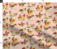 Pink Cowgirl Cowboy Horse Western Fabric Printed by Spoonflower Bty
