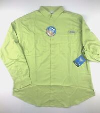 Columbia Pfg Mens Large Tamiami Lime Green L/S Vented Button Fishing Shirt Nwt