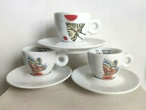 Kiki Smith Illy Espresso Set of 3 Cups & 3 Saucers Art Collection Butterfly VGC