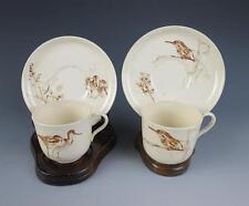 DOULTON BURSLEM Rare Antique BRITISH BIRDS Brown Transferware Cup & Saucer Royal