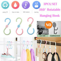 3pcs Plastic Shape Hooks Rotatable Rack Shoes Towel Bag Holder for Wardrobe Kitc