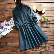 Mori Girl Peter Pan Collar Long Sleeve Corduroy Retro Blue Yellow Lolita Dress