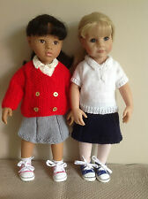 "Dolls clothes knitting pattern.18""doll.School set. Will fit Gotz,American Girl."