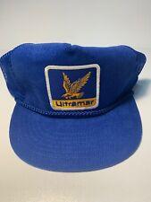 Vintage blue corduroy mesh snapback Ultramar trucker patch cap